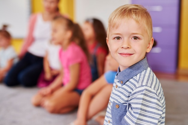 Smiling boy in the preschool