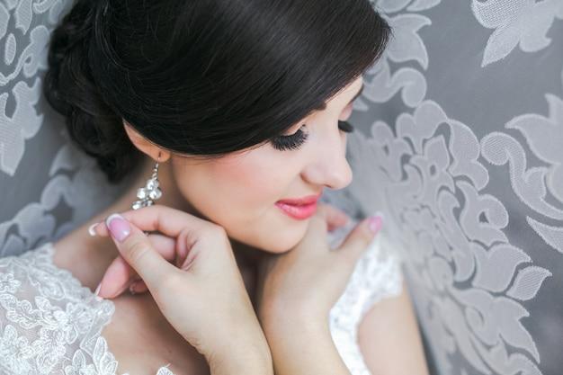 Smiling bride close-up