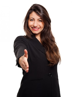 Smiling busines swoman standing over white isolated