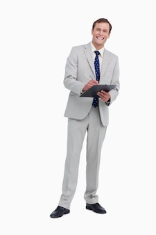 Smiling businessman ready to take notes