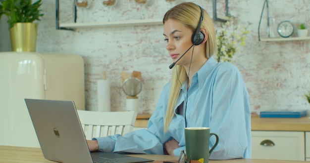 Smiling businesswoman customer support agent