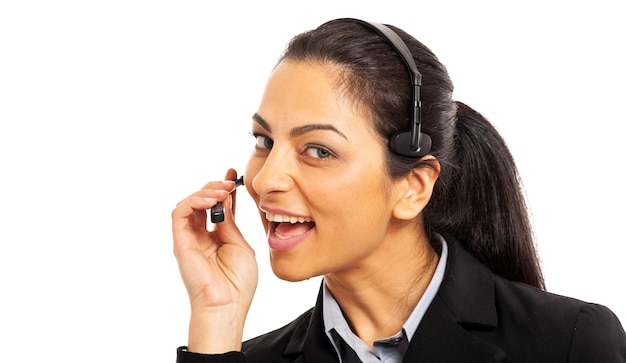 Улыбающийся оператор call-центра, изолированные на белом фоне