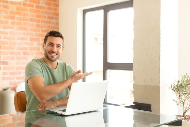 Smiling cheerfully, feeling happy and showing a concept in copy space with palm of hand