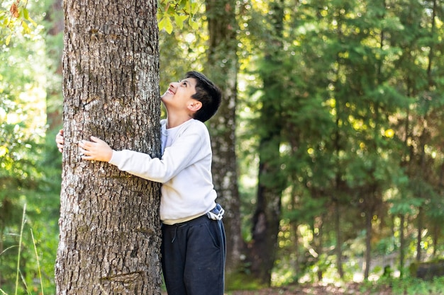 A smiling child hugging a big tree trunk in the middle of the forest on a sunny day