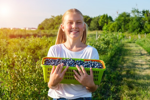 Smiling daughter of farmers harvests blueberries and holds a basket of berries