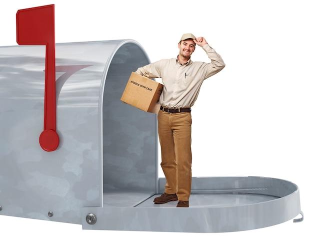 Улыбающийся доставщик в 3d металлическом классическом почтовом ящике