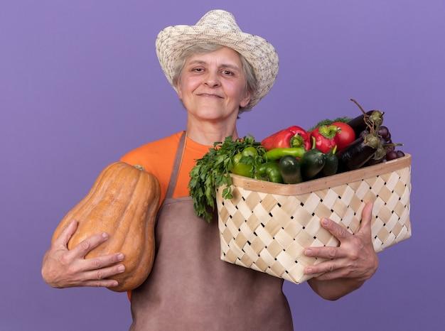 복사 공간이 있는 보라색 벽에 격리된 야채 바구니와 호박을 들고 정원 가꾸기 모자를 쓰고 웃고 있는 노년 여성 정원사