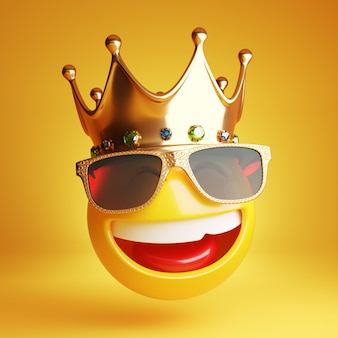 Smiling emoji with golden sunglass and a royal crown 3d
