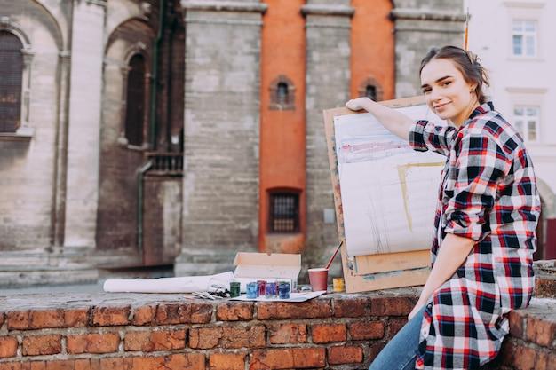 Smiling female artist