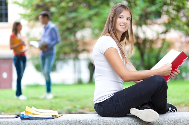 Smiling female student outdoor