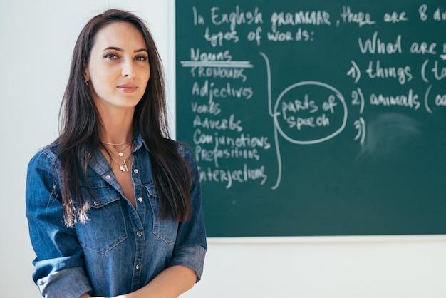 教室で黒板の前に立っている笑顔の女教師。