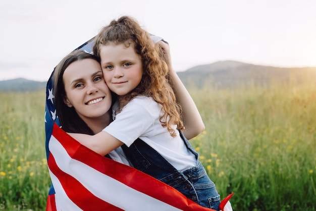 Smiling free proud independent patriotic family