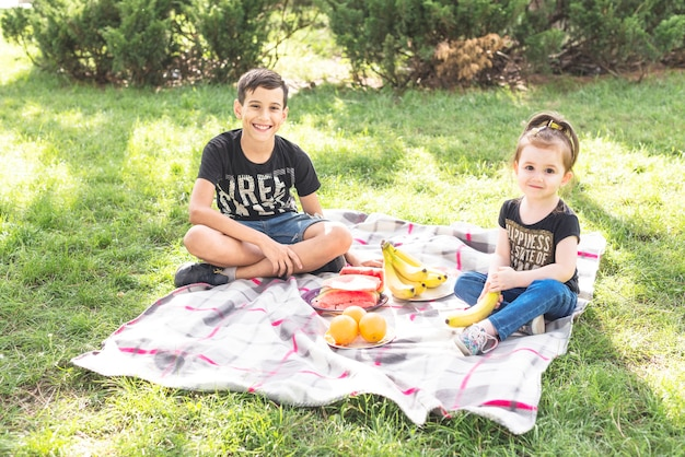 Smiling girl and boy sitting on blanket over the green grass with fruits