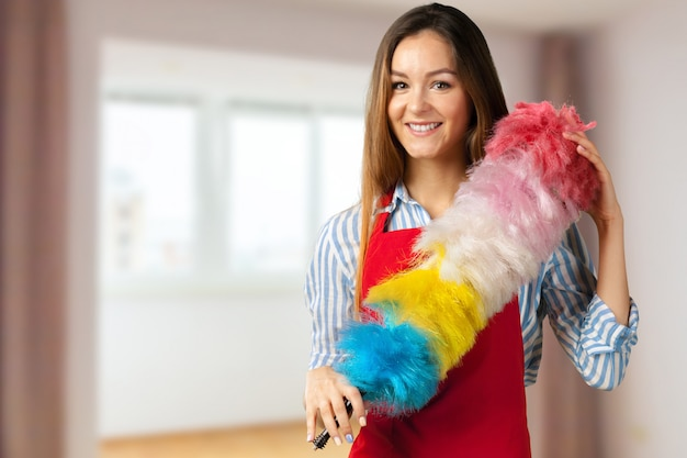 Smiling girl ready for cleaning