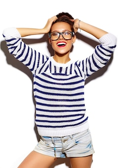 Smiling girl with red lips and glasses