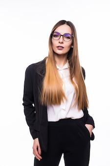 白の半透明のメガネで笑顔の女の子女性女性