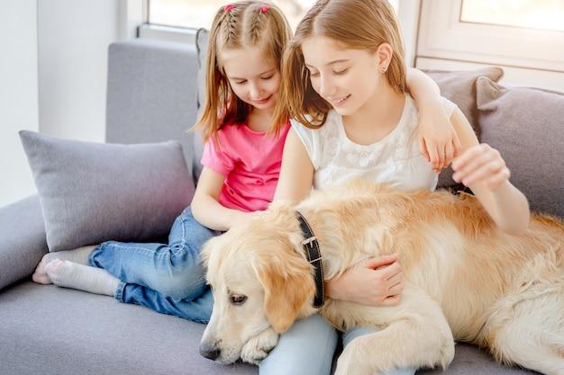 明るい部屋で素敵な犬を抱きしめる笑顔の女の子