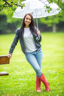Smiling good looking woman leans against a park bench protected under the umbrella.