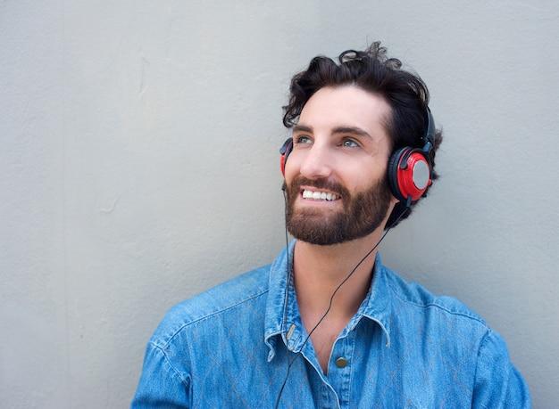 Smiling happy man with headphones