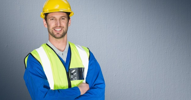 Smiling hard hat young adult stress using