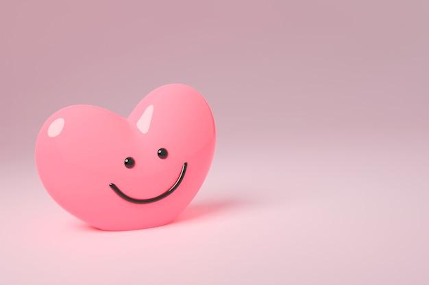 ピンクの背景に笑顔のハートのシンボル。テキスト用のコピースペースを持つバレンタインデーのコンセプト。
