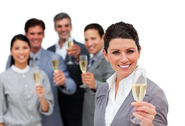 Smiling international business team working together