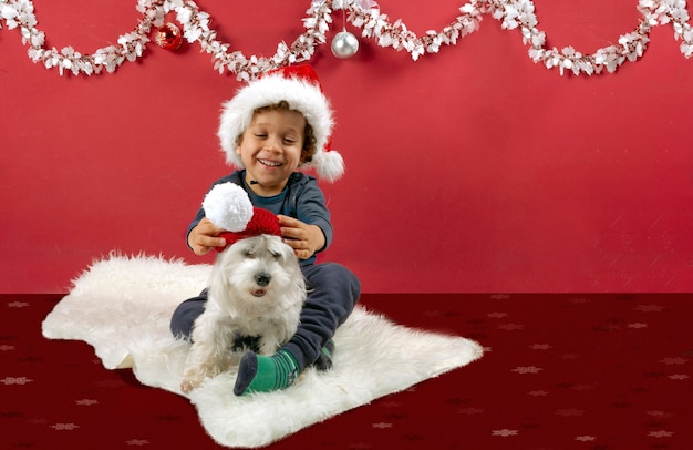 Smiling little boy playing with his puppy and santa claus hat in christmas decorations