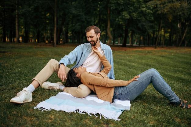 芝生の上で休んでいる笑顔の愛のカップル、平面図、公園でロマンチックな散歩。毛布の上に横たわっている男女。家族は夏の間、自然の中で週末に牧草地でリラックスします