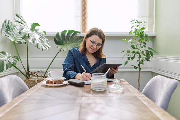 自宅で働く笑顔の成熟した女性。朝のテーブルに座って、朝食をとり、デジタルタブレット、ビジネスノートブックを使用してパジャマを着た女性
