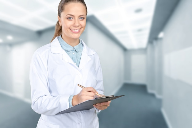 Smiling medical woman doctor