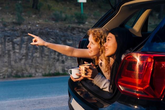 트렁크에 편안한 다민족 여자 친구 미소