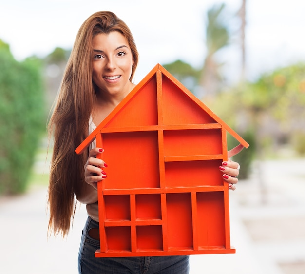 Smiling orange investment architect person