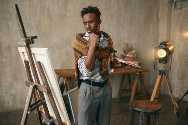 Smiling painter with canvas standing near easel