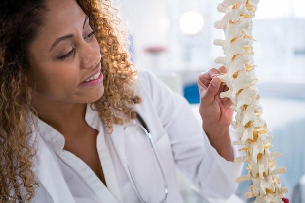 脊椎モデルを見て笑顔の理学療法士