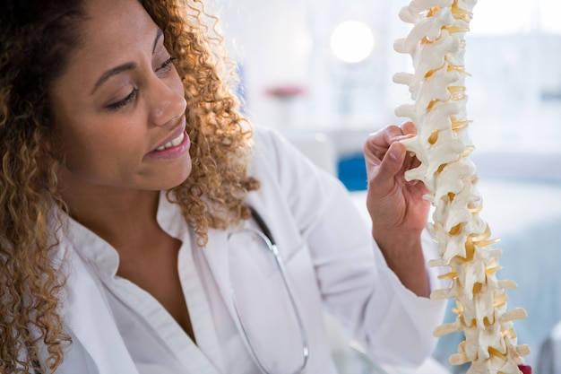 Smiling physiotherapist looking at spine model