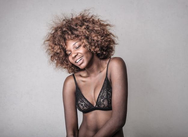 Smiling pretty afro woman