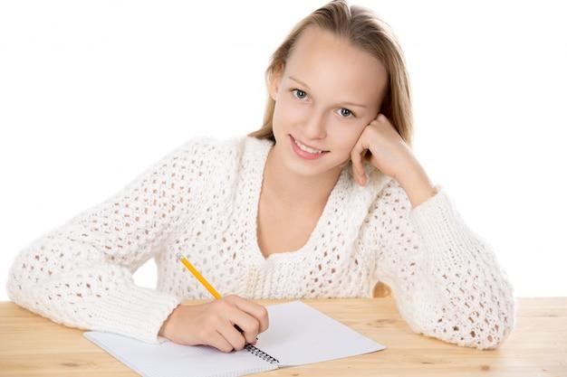 연필 들고 웃는여 학생