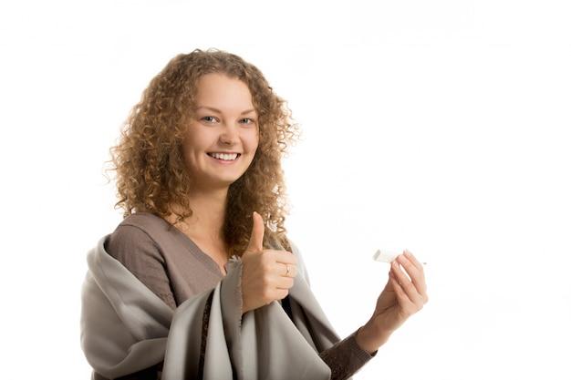 Smiling sick woman