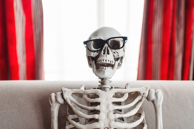 Smiling skeleton in glasses is sitting on couch, window and red curtains