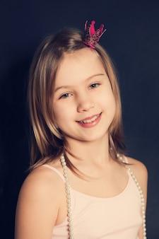 Smiling teen girl, fashion portrait