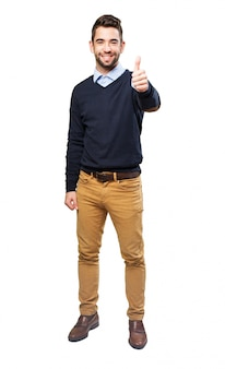 Smiling teenager with approval gesture