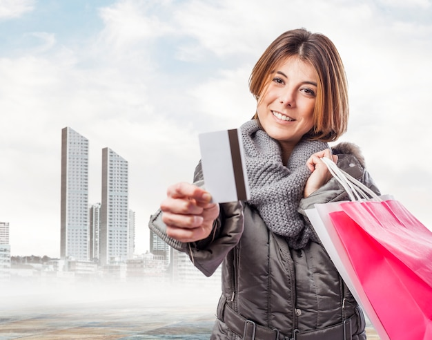 Smiling woman after a day of shopping