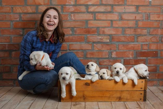 Texのコピースペースとレンガの壁の背景に木製バスケットで笑顔の女性とラブラドール子犬