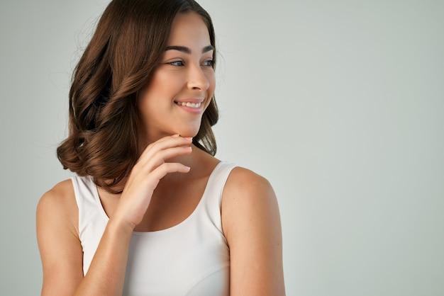 웃는 여자 화장품 매력적인 모습 근접 촬영