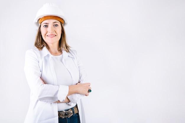 Smiling woman in helmet