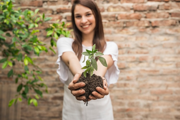 Smiling woman holding small plant with soil
