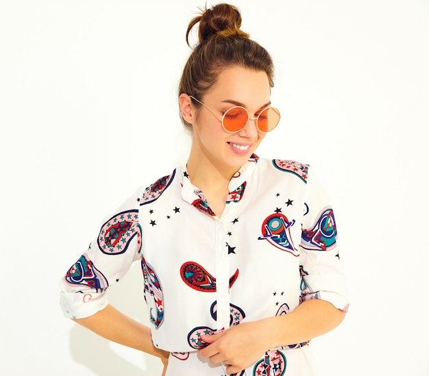 Smiling woman model in casual summer clothes in sunglasses