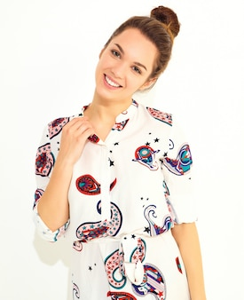 Smiling woman model in casual summer clothes