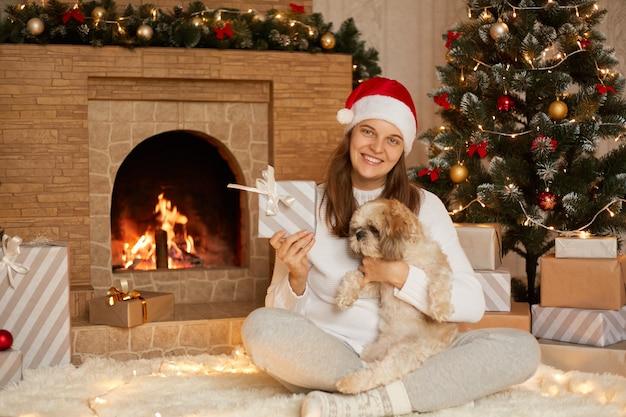 カメラを見て、プレゼントのギフトボックスを見せて、幸せで、柔らかいカーペットの上に足を組んで座っている犬と笑顔の女性、暖炉のあるお祝いのリビングルームでペキニーズの子犬を保持している女性。
