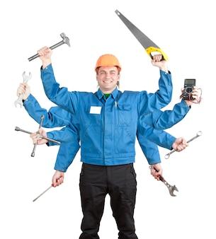 많은 손에 도구와 웃는 노동자. 흰색 절연